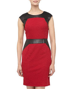 Marc New York by Andrew Marc Faux-Leather-Trim Jacquard Dress, Raspberry