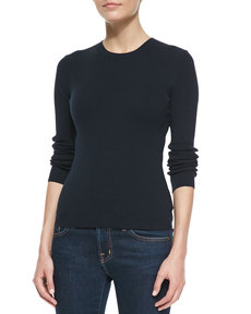 Michael Kors Cotton Long-Sleeve Crewneck Sweater, Midnight