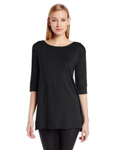 Three Dots Red Women's 3/4 Sleeve Fish Tail Tunic with V-Neck