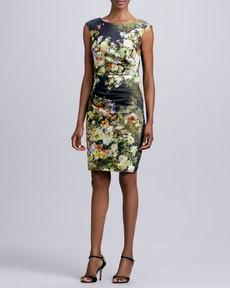 Kay Unger New York Floral-Print Sheath Dress