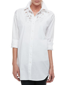 Go Silk Silk Big Shirt with Lace, Women's