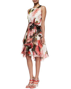 Floral Silk Sleeveless Cocktail Dress   Floral Silk Sleeveless Cocktail Dress