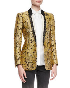 One-Button Snake-Print Blazer, Chamomile   One-Button Snake-Print Blazer, Chamomile