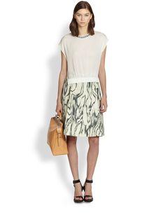 3.1 Phillip Lim Cotton & Silk Woodgrain-Print Skirt