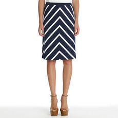 Navy Blue and White Stripe Skirt