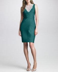 Lela Rose Bead-Neck Silk Dress