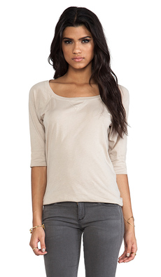 Michael Stars Elbow Sleeve Wide Neck Raglan Tee in Beige