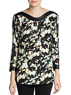 Catherine Malandrino Amina Abstract Floral-Print Silk/Wool Blouse