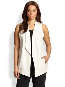 Eileen Fisher, Sizes 14-24 Shawl-Collar Long Vest