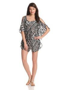Kenneth Cole Women's Deco Dence Flutter-Sleeve Tunic Cover-Up