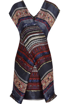 KENZO Wrap-front striped jacquard dress