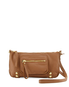 Linea Pelle Dylan Zip Leather Crossbody Bag, Coffee Bean