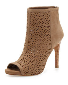 Inandout Perforated Peep-Toe Bootie, Tan   Inandout Perforated Peep-Toe Bootie, Tan