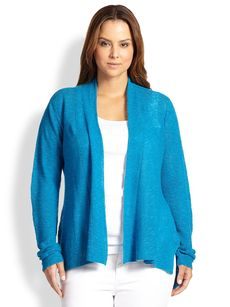 Eileen Fisher, Sizes 14-24 Linen/Cotton Shaped Cardigan