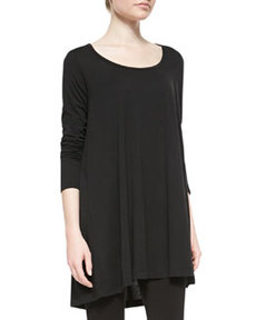 Joan Vass Scoop-Neck Tunic, Black