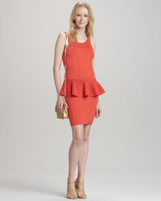 Nicole Crochet Peplum Dress, Kumquat   Nicole Crochet Peplum Dress, Kumquat
