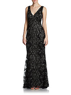 Carmen Marc Valvo Sleeveless Lace Gown