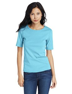 Three Dots Women's 9 Inch Sleeve Crew Neck Tee