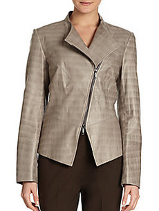 Lafayette 148 New York Croc-Embossed Leather Jacket