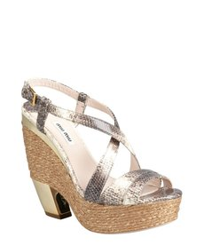Miu Miu stone snake embossed leather platform sandals