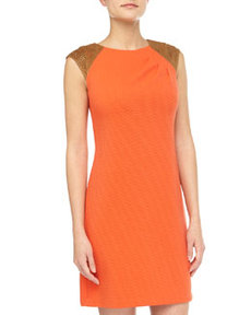 Kay Unger New York Laser-Cut-Shoulder Ribbed Dress, Orange
