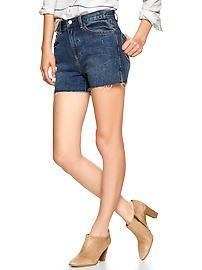 1969 raw-edge high-rise denim shorts