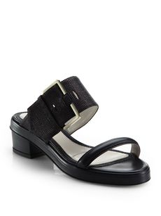 Jason Wu Stingray-Embossed Leather Sandals