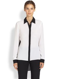 Michael Kors Two-Tone Silk Blouse