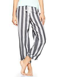 Printed poplin roll-up pants