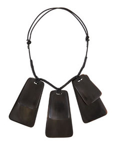 Lafayette 148 New York Stacked Horn Pendant Necklace, Black