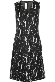 Marni Printed bonded silk and jersey dress