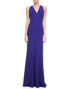 David Meister Sleeveless V-Neck Open-Back Gown