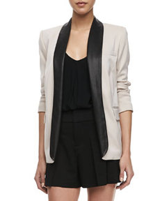 Two-Tone Leather-Collar Blazer   Two-Tone Leather-Collar Blazer