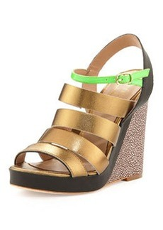 Nicole Miller St. Lucia Strappy Wedge Sandal, Bronze/Green