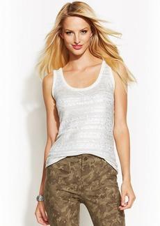 INC International Concepts Petite Metallic-Striped Sleeveless Sweater