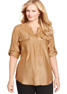 Charter Club Plus Size Metallic Utility Shirt