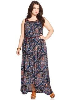 Lucky Brand Plus Size Sleeveless Paisley-Print Maxi Dress