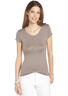 brown stretch cotton scoop neck 'Chloe' t-shirt
