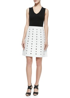Michael Kors Bonded Plonge Leather Grommet Skirt