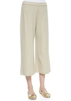 Joan Vass Knit Cropped Wide-Leg Pants, Petite