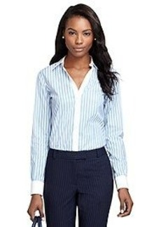 Non-Iron Fitted Wide Stripe Dress Shirt