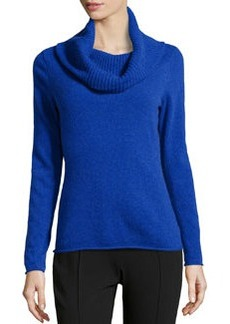 Lafayette 148 New York Cowl-Neck Wool-Cashmere Sweater, Electric Blue