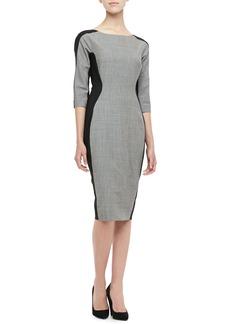 Lela Rose Long-Sleeve Side-Panel Dress