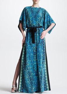Roberto Cavalli Snake-Print Maxi Caftan, Turquoise