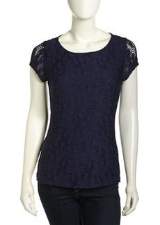 Laundry by Shelli Segal Floral Knit Keyhole-Back Top, Inkblot