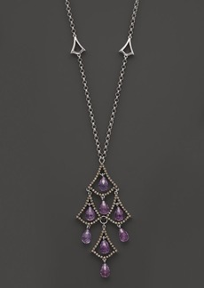 Badgley Mischka Amethyst And Brown Diamond Drop Necklace, 18""