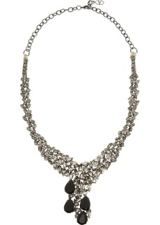 Valentino Gunmetal-tone crystal necklace