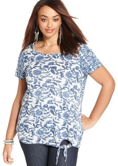 Lucky Brand Plus Size Floral-Print Tie-Front Top