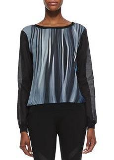 Elie Tahari Kennedy Silk Stripe Long-Sleeve Blouse