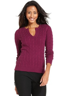 Charter Club Petite Cable-Knit Sweater